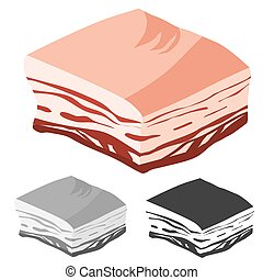 Bacon cut, Fresh Meat products - Bacon strips illustration,...