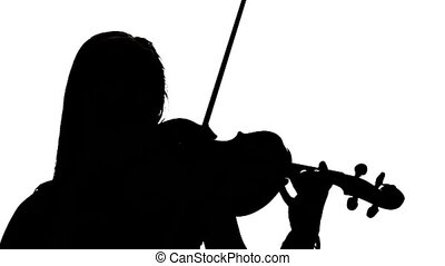 Woman playing the fiddle. Silhouette on white background....
