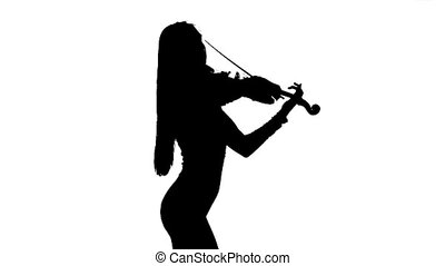 Girl playing the viola. Side view. Silhouette on white...