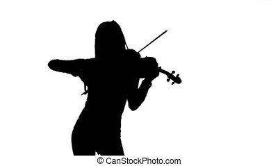 Girl playing the fiddle. Silhouette on white background....