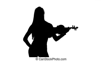 Violinist . Silhouette on white background. Slow motion -...