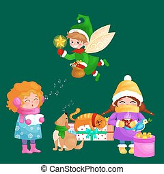 illustrations set Merry Christmas Happy new year, girl sing holiday songs with dog pets, cat and dog enjoy presents, elf flies using the wings magic wand star vector
