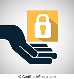 concept e-commerce hand with padlock password