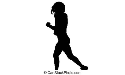 Guy running with the ball in his hands and wearing a helmet....
