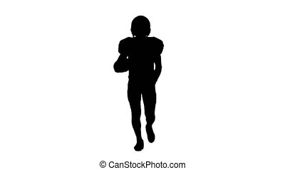 Athlete runs in spats, boots and helmet. Silhouette. White...