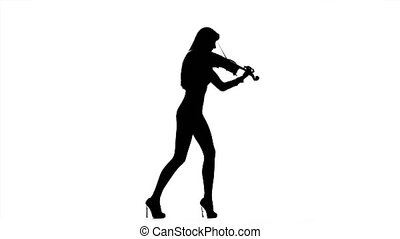 Girl violinist playing the fiddle. Silhouette - Professional...