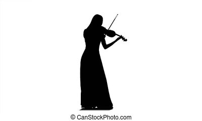 Girl fiddler playing the viola. Long dress. Silhouette -...