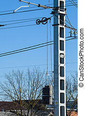 pillar of power line. Counterweight for tensioning wires. -...