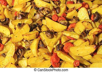potatoes stewed in home,carrots, mushrooms, yummy, healthy...