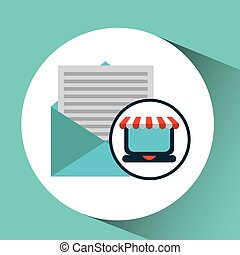 e-commerce concept email cart icon