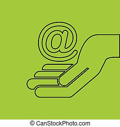 concept e-commerce hand with mail icon