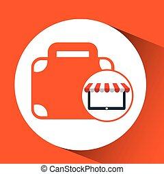 online shop business suitcase design icon vector...