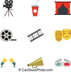 Cinematography icons set, flat style