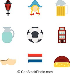Attractions of Holland icons set, flat style - Attractions...