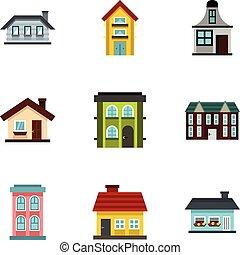 Habitation icons set, flat style