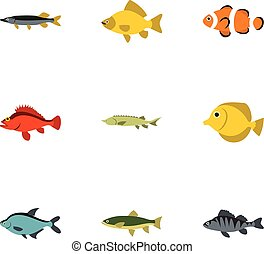 River fish icons set, flat style - River fish icons set....
