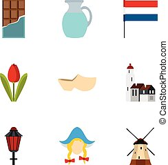 Country Holland icons set, flat style - Country Holland...