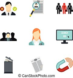 Employee icons set, flat style - Employee icons set. Flat...