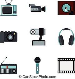 Electronic equipment icons set, flat style - Electronic...