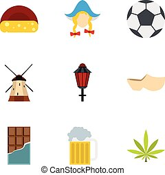 Holiday in Holland icons set, flat style - Holiday in...
