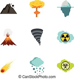Natural catastrophe icons set, flat style - Natural...