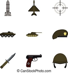 Equipment for war icons set, flat style - Equipment for war...