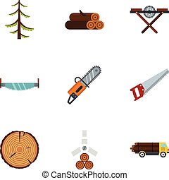 Cleaver icons set, flat style - Cleaver icons set. Flat...