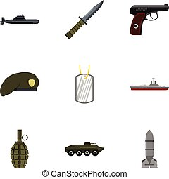 Military defense icons set, flat style - Military defense...