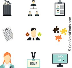 Job search icons set, flat style - Job search icons set....