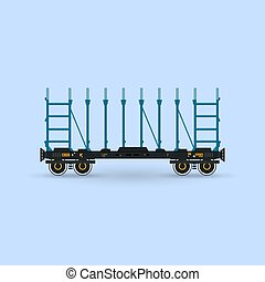 Railway Platform Isolated on Blue Background, Railway...