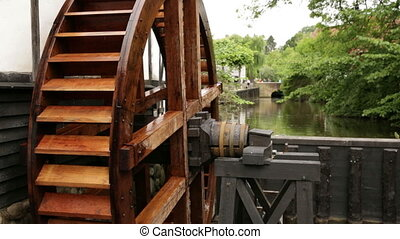slider close up on watermill