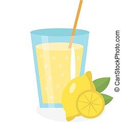 Lemon juice, lemonade, in a glass. Fresh isolated on white...
