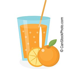 Orange juice, orangeade, in a glass. Fresh isolated on white...