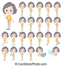 Yellow jacket Middle woman - Set of various poses of Yellow...