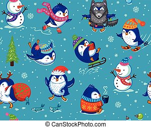 Seamless pattern with funny penguins isolated on blue...