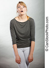 Amazed shocked girl wide open mouth. - Shock and disbelief...