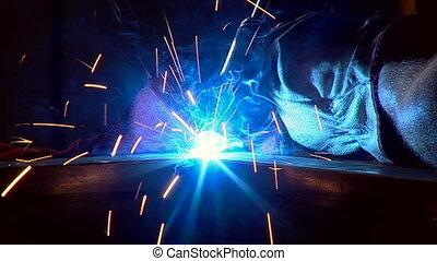 Welding arc, when welder stop welding we see the result