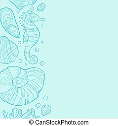 Background with seashells, rocks, seahorse and place for text.