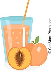 Peach juice in a glass. Fresh   isolated on white background.  fruit and  icon.  drink,  compote. Apricot cocktail smoothie. Vector illustration