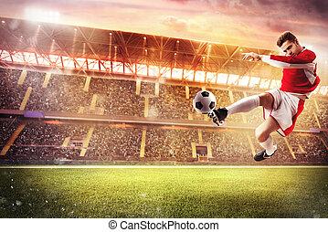 juego, fútbol, estadio