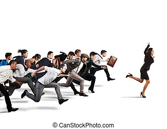 Business competition - Businesswoman exults winning during a...