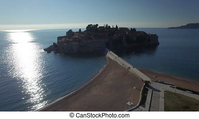 Aerial view of Sveti Stefan island in Montenegro