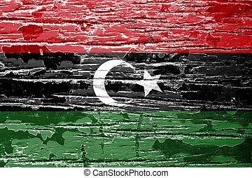 Libya Flag on grunge wood background