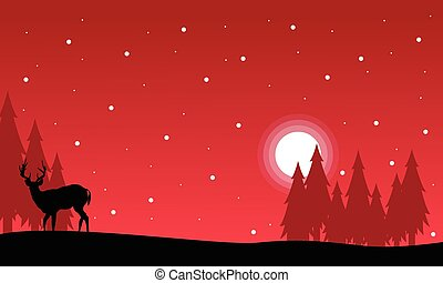 At night Christmas landscape with reindeer