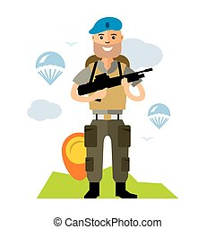 Vector Airborne troops. Flat style colorful Cartoon...
