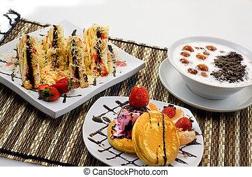 gachas de avena,  candil, tostada, panqueque,  bread