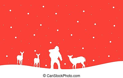 Silhouette of Santa with reindeer in hill