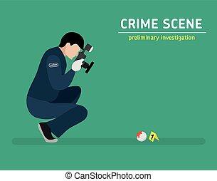 Flat illustration. Murder investigation - Murder...
