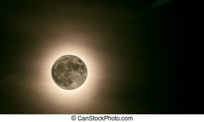 Supermoon - Animation of moon with halo moving from backward...