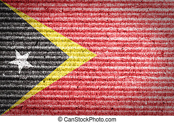 East Timor Flag on cardboard box